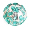 Glass Lamp Bead Round 12mm Crystal/Emerald